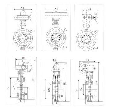 bd643w不锈钢气动夹套式保温蝶阀结构图